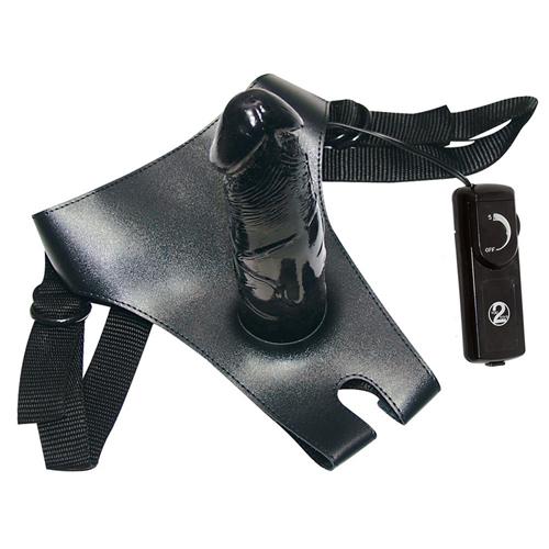 Black strap-on - voorbind dildo