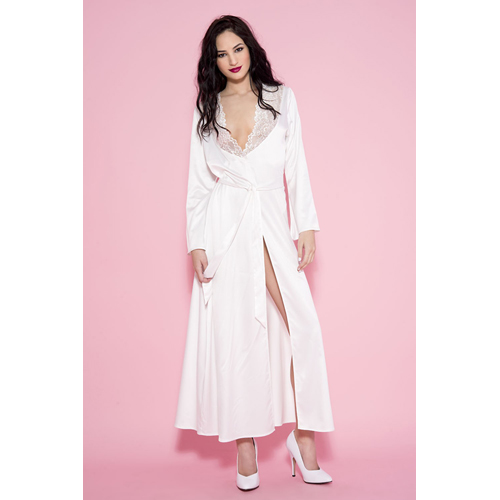 Lange Satijnen Kimono - Wit