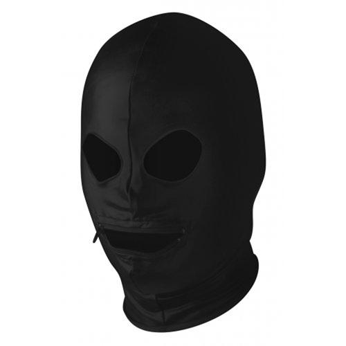 Zwart hoofdmasker met rits bij mond