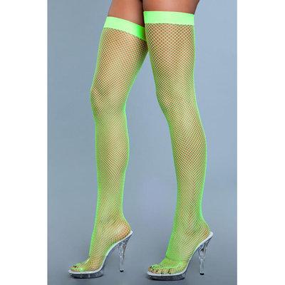 Hoge Nylon Visnetkousen - Neon Groen