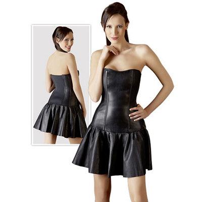Zwarte leren mini jurk