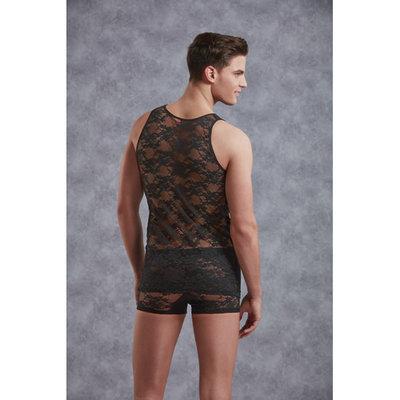 Mannenhemd Met Bloemenpatroon - Zwart