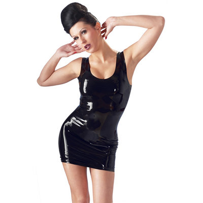Latex Mini Jurk - Zwart