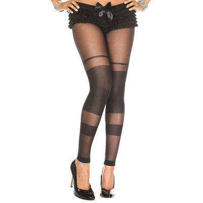 Transparante Legging Met Strepen Design - Zwart