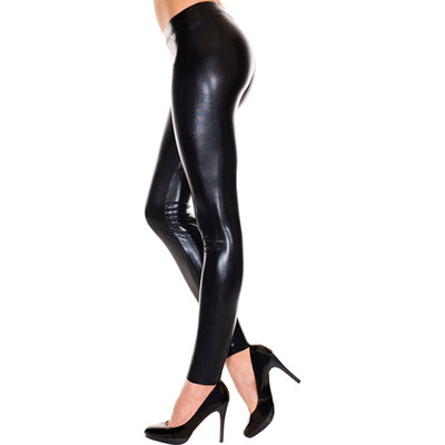 Wetlook Legging - Zwart