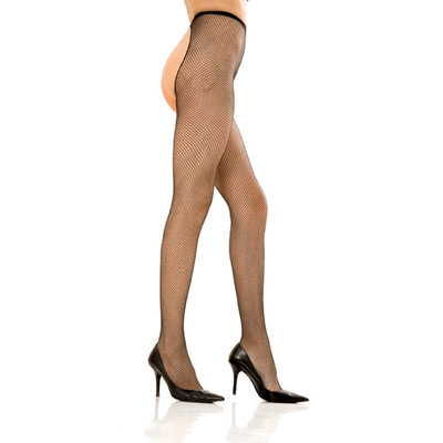 Crotchless fishnet pantyhose