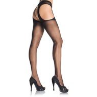 Sheer Suspender Pantyhose one size Zwart