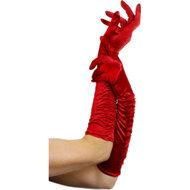 Lange glanzende handschoenen – Rood  – Fever