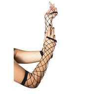 Lange Handschoenen van Netstof – Zwart  – Leg Avenue