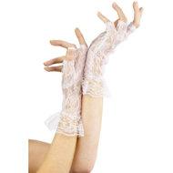 Vingerloze Kanten Handschoenen – Wit  – Fever
