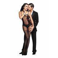 Catsuit Met Body En Kousen Design – Zwart/Rood  – Music Legs